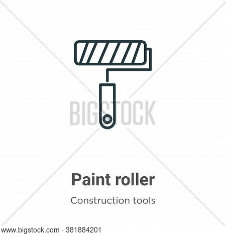Paint roller icon isolated on white background from construction tools collection. Paint roller icon