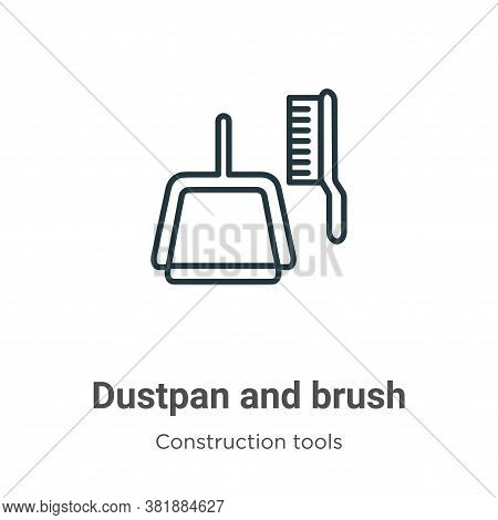 Dustpan and brush icon isolated on white background from tools collection. Dustpan and brush icon tr
