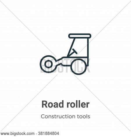 Road roller icon isolated on white background from tools collection. Road roller icon trendy and mod