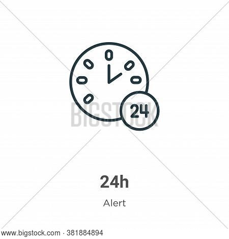 24h icon isolated on white background from alert collection. 24h icon trendy and modern 24h symbol f