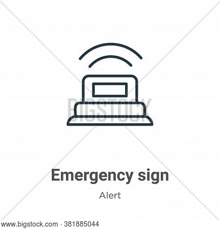 Emergency sign icon isolated on white background from alert collection. Emergency sign icon trendy a