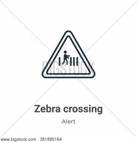 Zebra crossing icon isolated on white background from alert collection. Zebra crossing icon trendy a