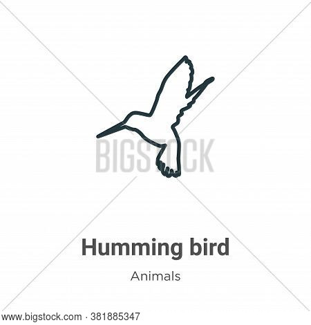 Humming Bird Icon From Animals Collection Isolated On White Background.