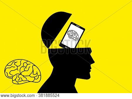 Graphic Illustration Of Human Brain Being Replaced By A Smart Phone