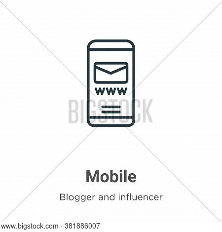Mobile icon isolated on white background from blogger and influencer collection. Mobile icon trendy