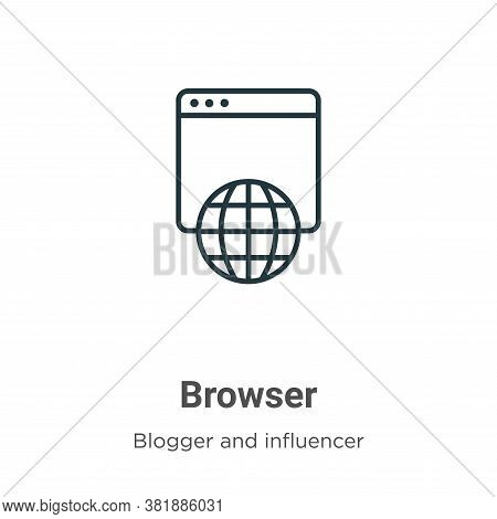Browser icon isolated on white background from blogger and influencer collection. Browser icon trend