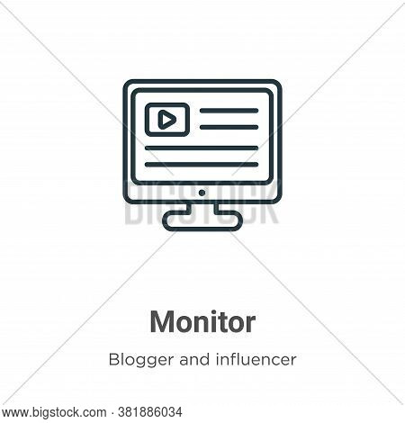 Monitor icon isolated on white background from blogger and influencer collection. Monitor icon trend