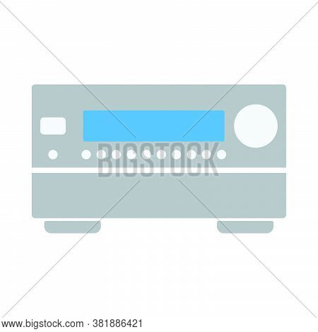 Home Theater Receiver Icon. Flat Color Design. Vector Illustration.