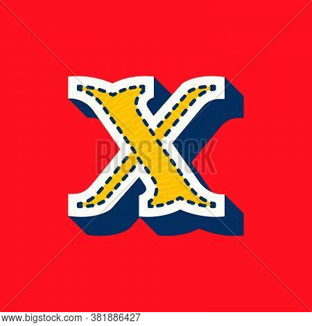 X Letter Sports Team Logo In Tackle Twill Style. Embroidered Serif Font For University Uniform, Base