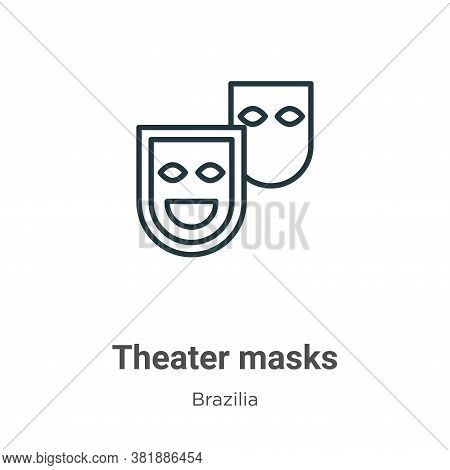 Theater masks icon isolated on white background from brazilia collection. Theater masks icon trendy