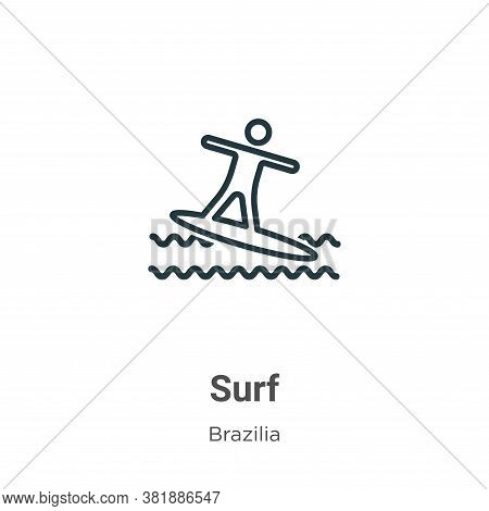 Surf icon isolated on white background from brazilia collection. Surf icon trendy and modern Surf sy