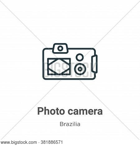 Photo camera icon isolated on white background from brazilia collection. Photo camera icon trendy an
