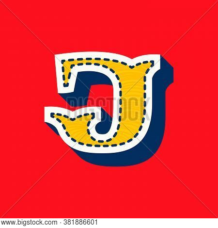 J Letter Sports Team Logo In Tackle Twill Style. Embroidered Serif Font For University Uniform, Base