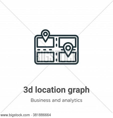 3d location graph icon isolated on white background from business and analytics collection. 3d locat