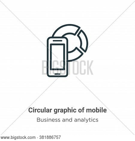 Circular graphic of mobile icon isolated on white background from business and analytics collection.