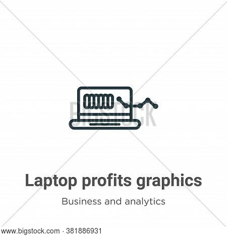 Laptop profits graphics icon isolated on white background from business and analytics collection. La
