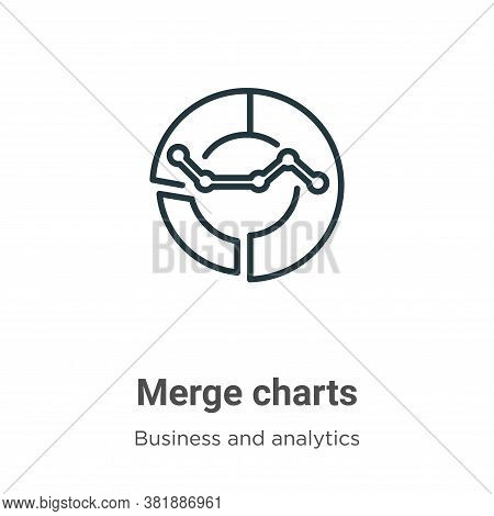 Merge charts icon isolated on white background from business and analytics collection. Merge charts