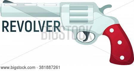 Revolver Pistol Icon, Self Defense Weapon, Concept Cartoon Vector Illustration, Isolated On White. S