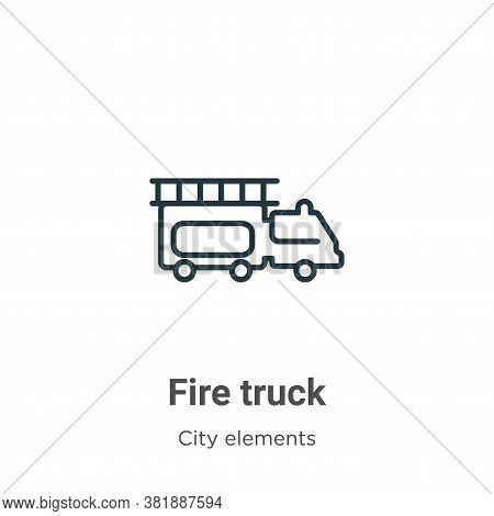 Fire truck icon isolated on white background from city elements collection. Fire truck icon trendy a