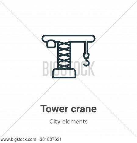 Tower crane icon isolated on white background from city elements collection. Tower crane icon trendy