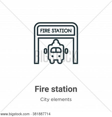 Fire station icon isolated on white background from city elements collection. Fire station icon tren