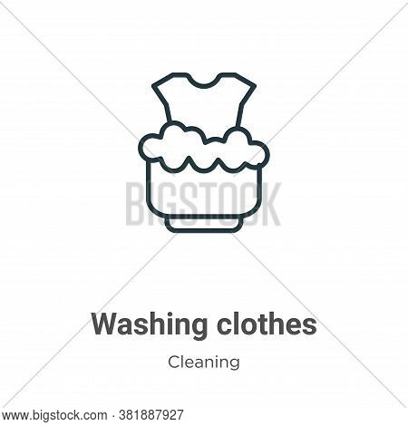 Washing clothes icon isolated on white background from cleaning collection. Washing clothes icon tre