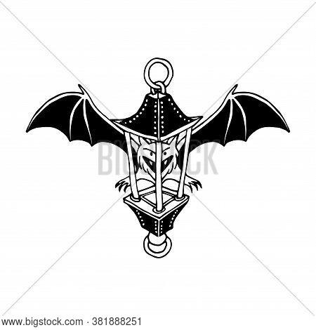 Funny Bat With Street Lantern, Bloodsucker, Symbol Of Vampire & Halloween Holiday, Pet, Vector Illus