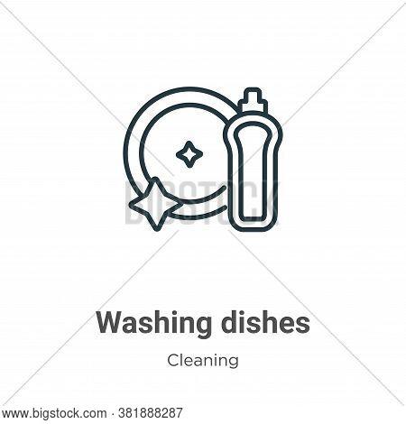 Washing dishes icon isolated on white background from cleaning collection. Washing dishes icon trend