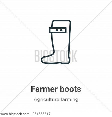Farmer boots icon isolated on white background from agriculture farming and gardening collection. Fa