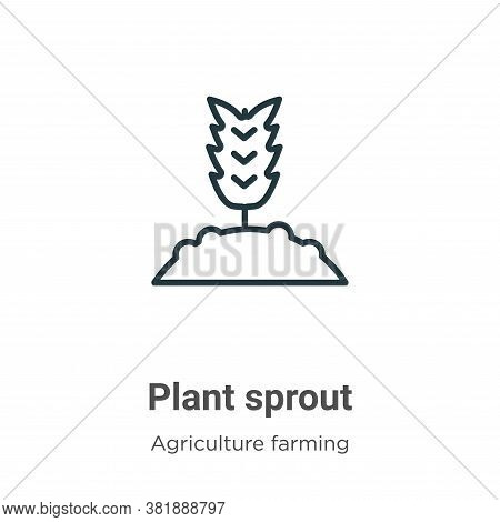 Plant sprout icon isolated on white background from agriculture farming and gardening collection. Pl
