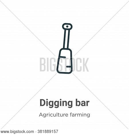 Digging bar icon isolated on white background from farming and gardening collection. Digging bar ico