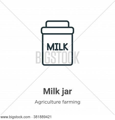 Milk jar icon isolated on white background from farming collection. Milk jar icon trendy and modern