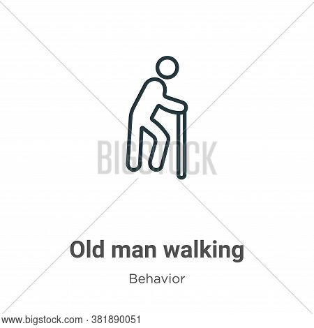 Old man walking icon isolated on white background from behavior collection. Old man walking icon tre