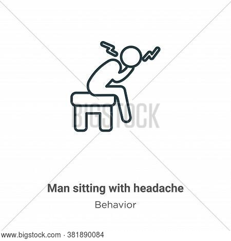 Man Sitting With Headache Icon From Behavior Collection Isolated On White Background.