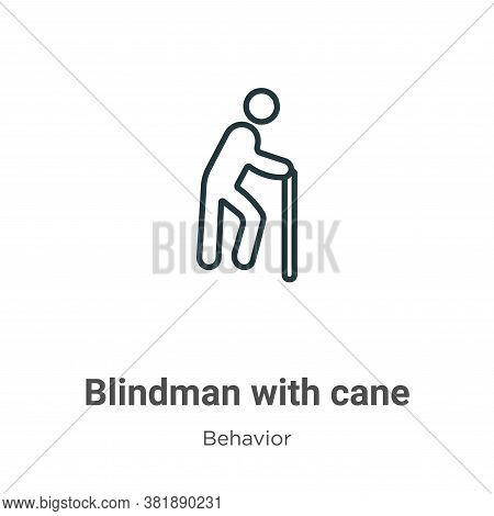 Blindman with cane icon isolated on white background from behavior collection. Blindman with cane ic