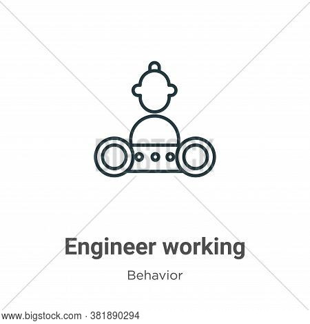 Engineer working icon isolated on white background from behavior collection. Engineer working icon t
