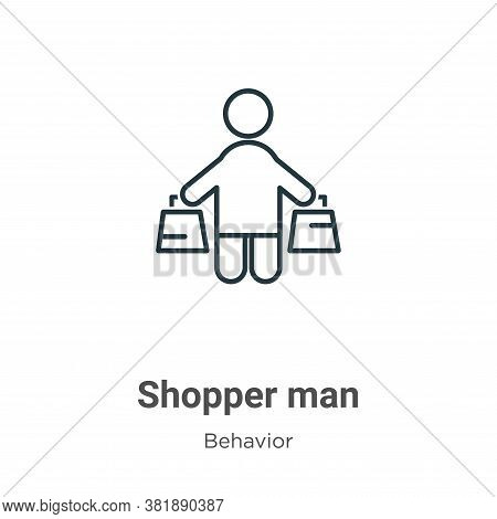 Shopper Man Icon From Behavior Collection Isolated On White Background.