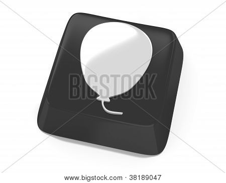 Balloon Symbol In White On Black Computer Key. 3D Illustration. Isolated Background.