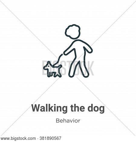 Walking the dog icon isolated on white background from behavior collection. Walking the dog icon tre