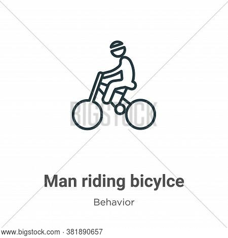 Man riding bicylce icon isolated on white background from behavior collection. Man riding bicylce ic