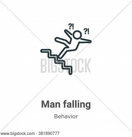 Man falling icon isolated on white background from behavior collection. Man falling icon trendy and