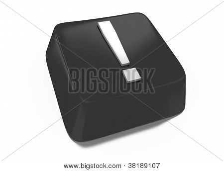 Exclamation Mark In White On Black Computer Key. 3D Illustration. Isolated Background.