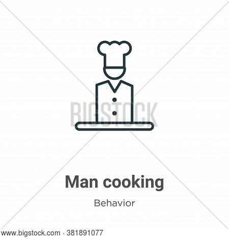 Man cooking icon isolated on white background from behavior collection. Man cooking icon trendy and