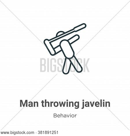 Man throwing javelin icon isolated on white background from behavior collection. Man throwing javeli