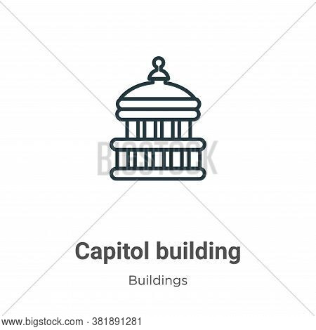 Capitol building icon isolated on white background from buildings collection. Capitol building icon