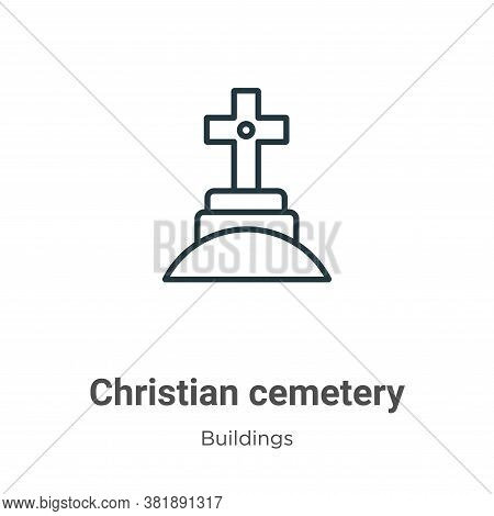 Christian cemetery icon isolated on white background from buildings collection. Christian cemetery i