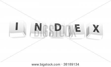 Index Written In Black On White Computer Keys. 3D Illustration. Isolated Background.