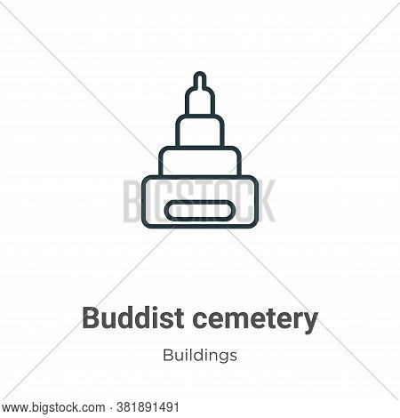 Buddist cemetery icon isolated on white background from buildings collection. Buddist cemetery icon