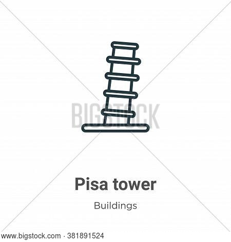 Pisa tower icon isolated on white background from buildings collection. Pisa tower icon trendy and m