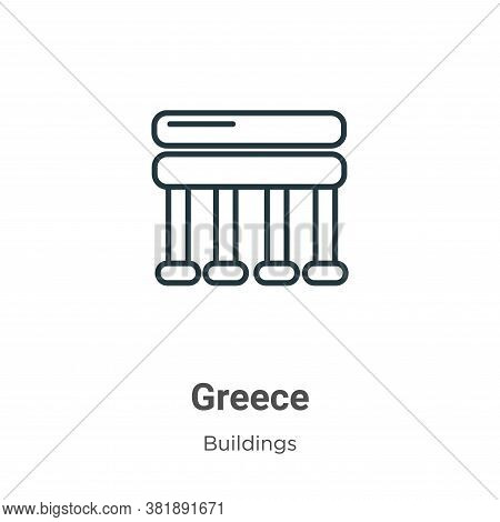 Greece icon isolated on white background from buildings collection. Greece icon trendy and modern Gr